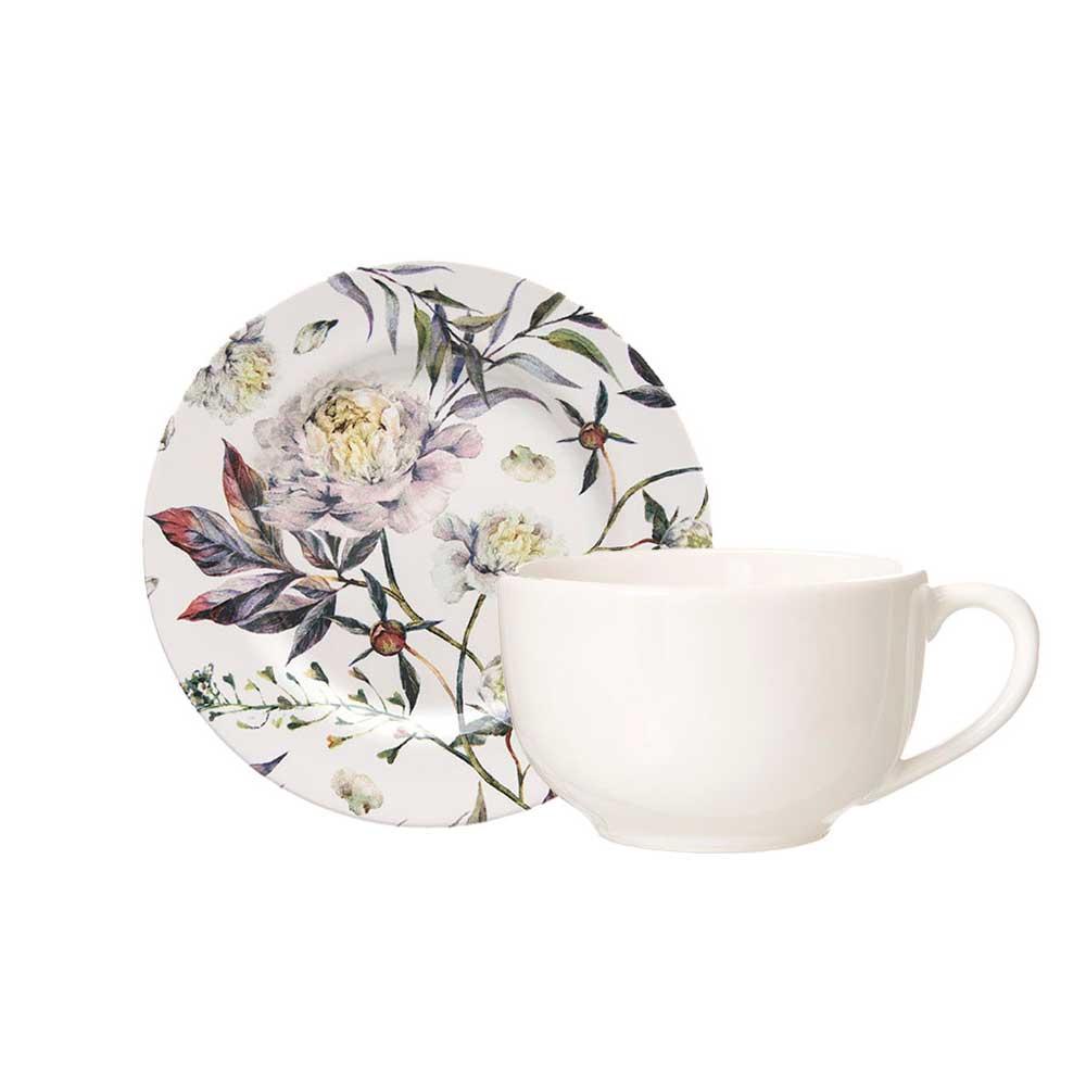 Xicara de Chá com Pires de Cerâmica Aquarelle Giardino 283ml