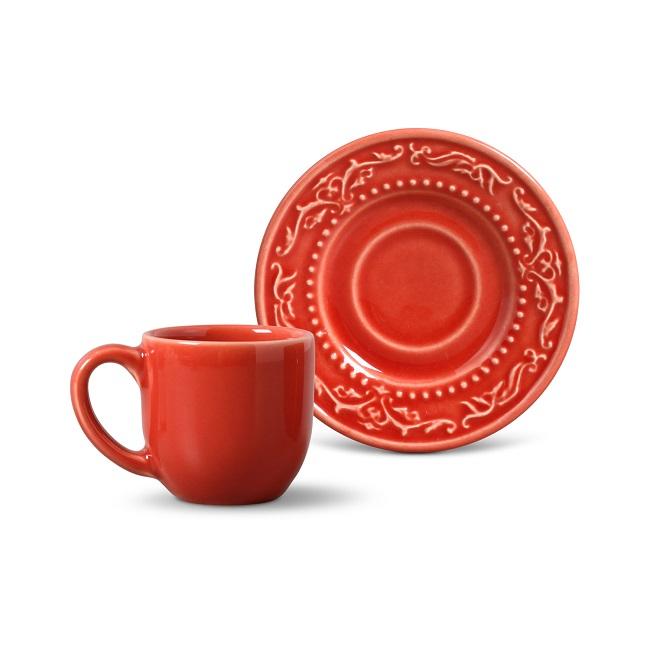 Xícara de Café Avulsa com Pires 72ml Acanthus Vermelho