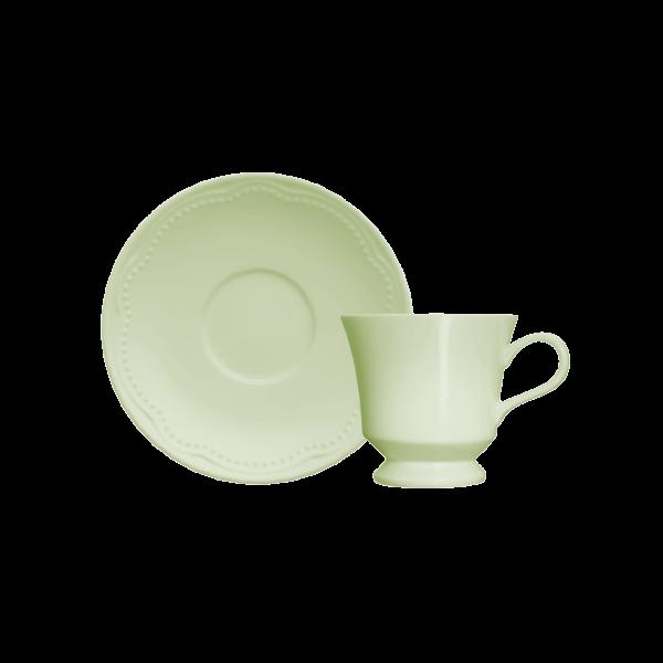 Xícara de Café com Pires 80ml Verde Menta Cottage Germer Porcelanas