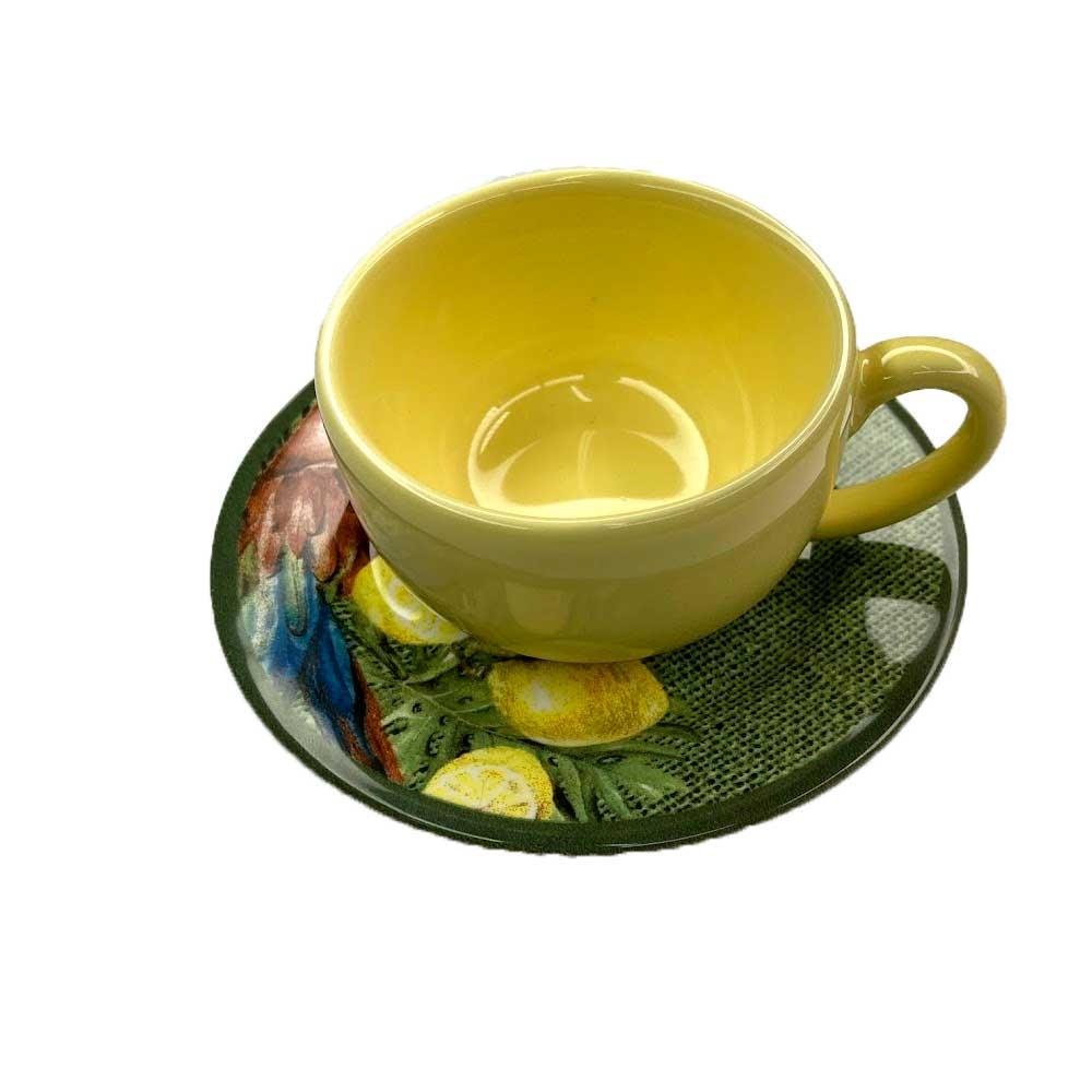 Xícara de Café com Pires de Cerâmica Amarelo Paraíso Tropical 75ml Alleanza