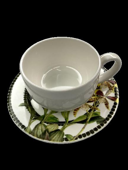 Xícara de Café com Pires de Cerâmica Orchid 75ml Alleanza