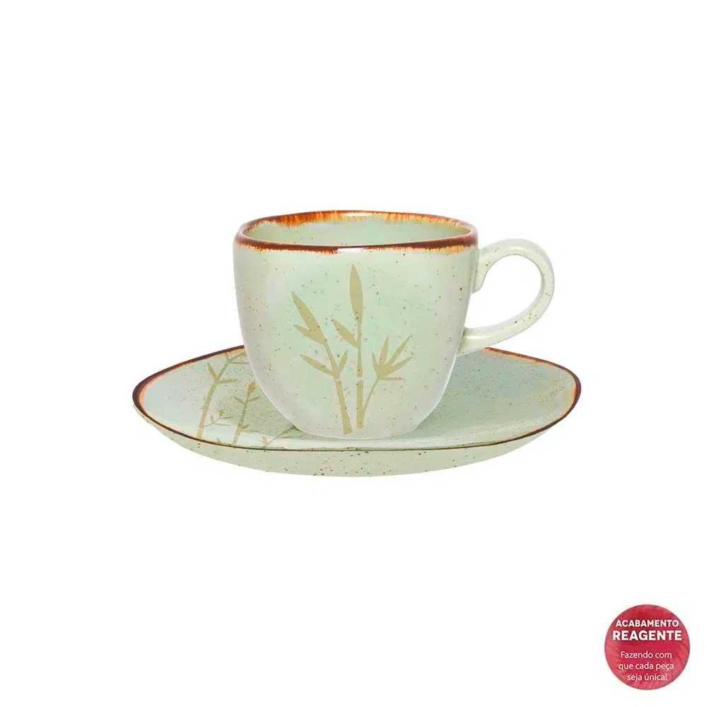 Xícara de Café com Pires Ryo Bambu 75ml Oxford