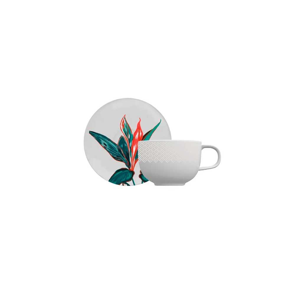 Xícara de Café com Pires Tropical Convexa 100ml Germer Porcelanas