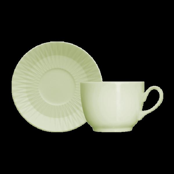 Xícara de Chá com Pires 198ml Verde Menta Diamante Germer Porcelanas