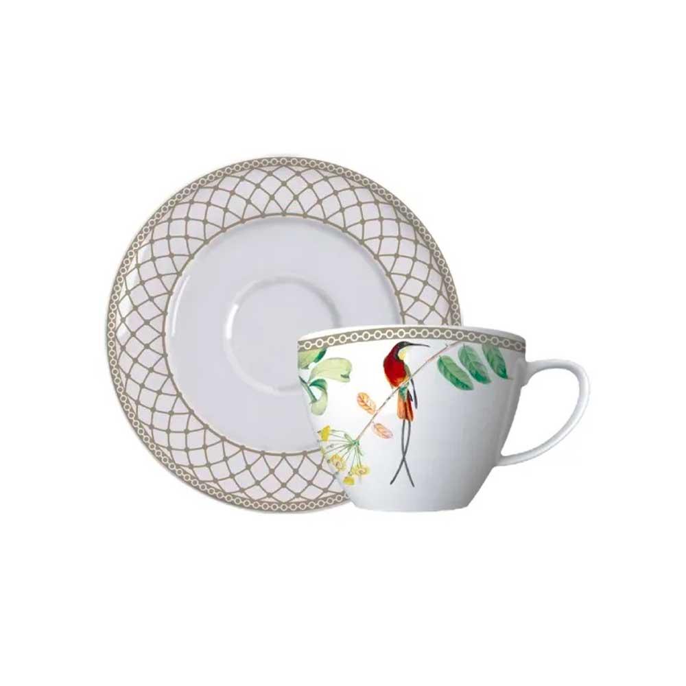 Xícara de Chá com Pires Bela Fauna 230ml Germer Porcelanas