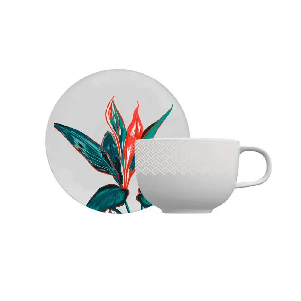Xícara de Chá com Pires Tropical Convexa 235ml Germer Porcelanas