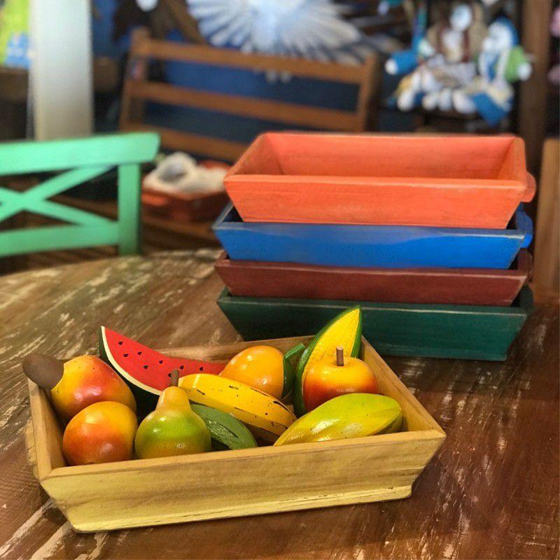 Bandeja colorida de Madeira