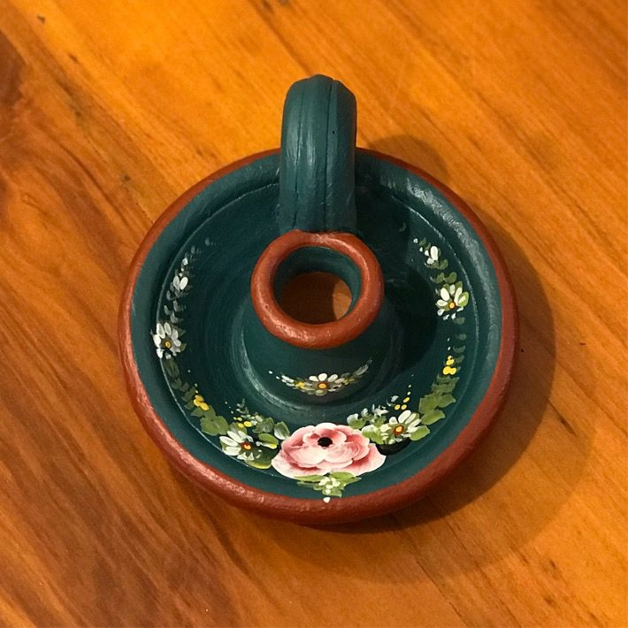 Castiçal Floral de Cerâmica