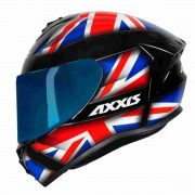 CAPACETE AXXIS DRAKEN UK GLOSS BLACK RED BLUE + VISEIRA AZUL EXTRA