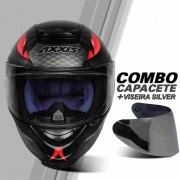 CAPACETE DE MOTO AXXIS EAGLE SNAKE COBRA PRETO FOSCO/CINZA COM VISEIRA EXTRA ESPELHADA PRATA SILVER