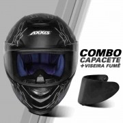 COMBO 1 CAPACETE DE MOTO AXXIS EAGLE BULL CYBER PITBULL PRETO CINZA FOSCO + 1 VISEIRA FUMÊ EXTRA