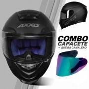 COMBO CAPACETE AXXIS EAGLE SOLID/MONOCOLOR PRETO FOSCO/CINZA + VISEIRA CAMALEÃO EXTRA