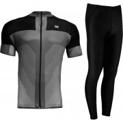 CONJUNTO CICLISMO CAMISA MATTOS RACING BIKE LISA MTB CINZA + CALÇA PRETO FORRO GEL MOUNTAIN BIKE