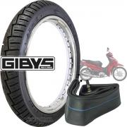 KIT PNEU DE MOTO TRASEIRO GIBYS MOTO BIZ POP 125 110i C100 100 80/100-14 49L + CÂMARA DE AR RODA 14