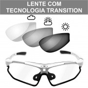 ÓCULOS MATTOS RACING BIKE VISION BRANCO LENTE CRISTAL TECNOLOGIA TRANSITION