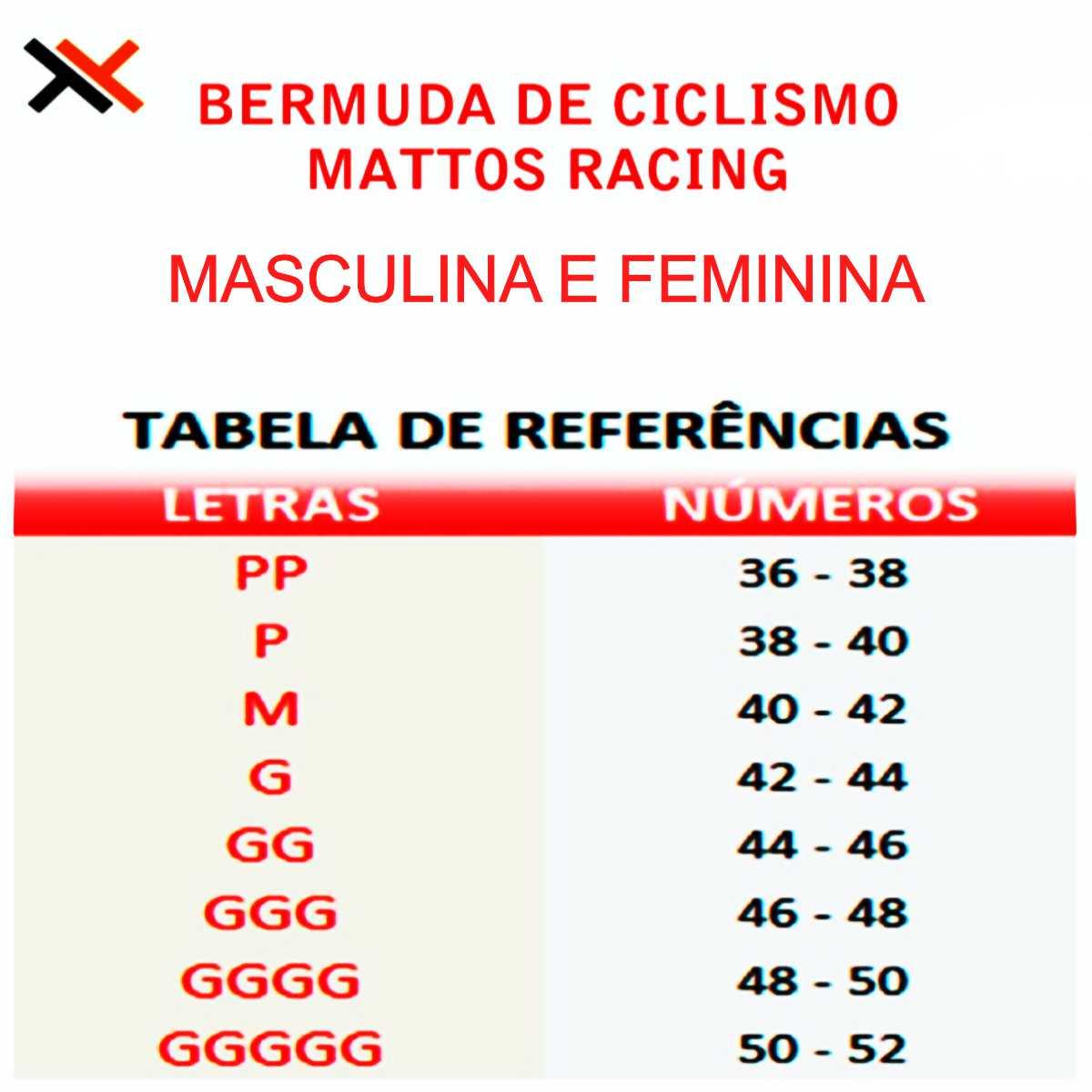 BERMUDA MOUNTAIN BIKE CICLISTA MATTOS RACING MTB TRILHA FORRO GEL ALTA DENSIDADE MASCULINO FEMININA