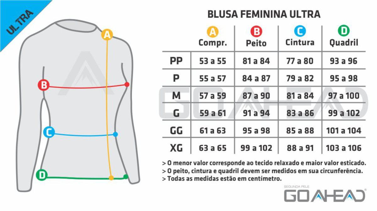 BLUSA GO AHEAD FEMININA SEGUNDA PELE C/ ZÍPER PRETO ULTRA ( FRIO - INVERNO )