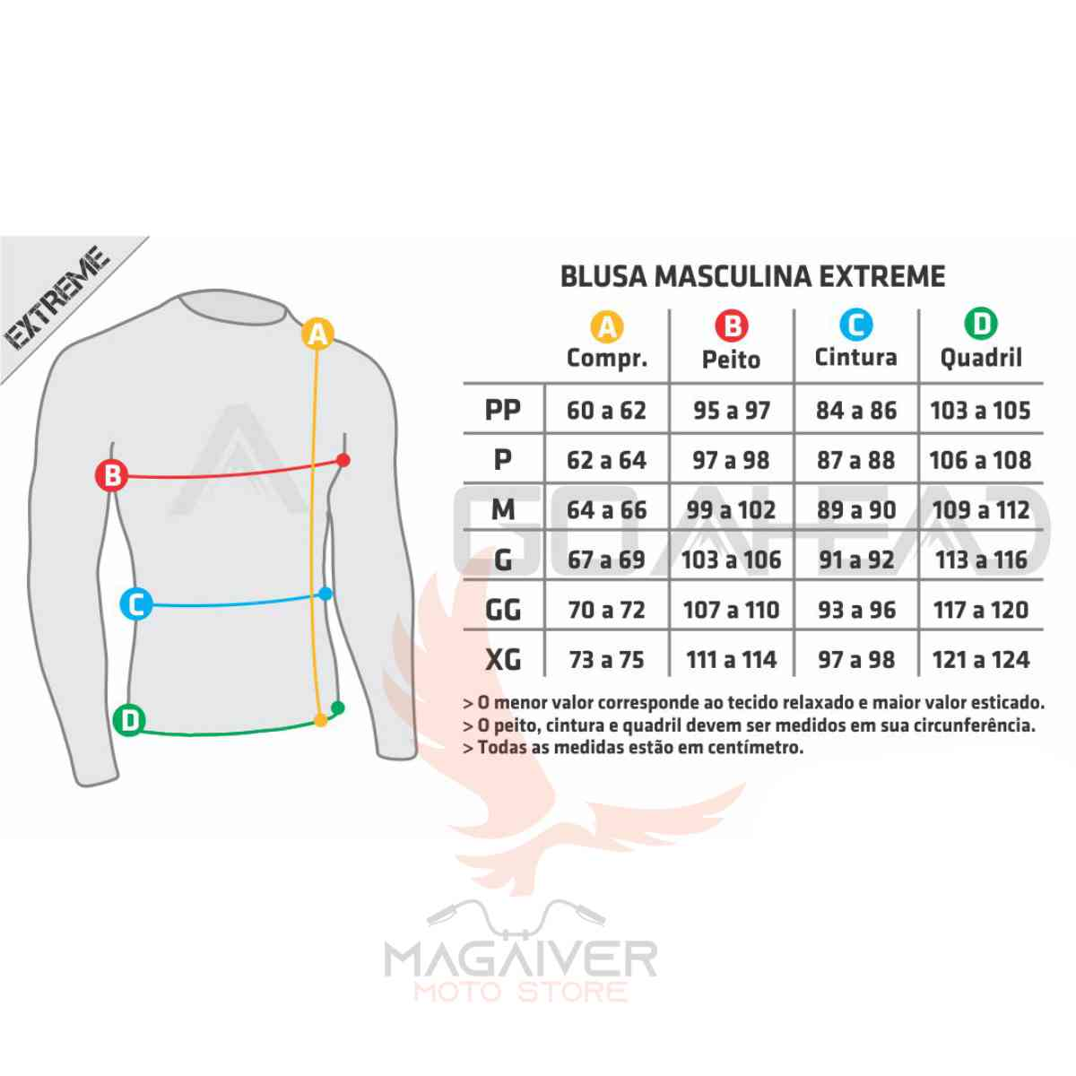 BLUSA GO AHEAD JACKET MASCULINO SEGUNDA PELE C/ ZÍPER INTEIRO EXTREME