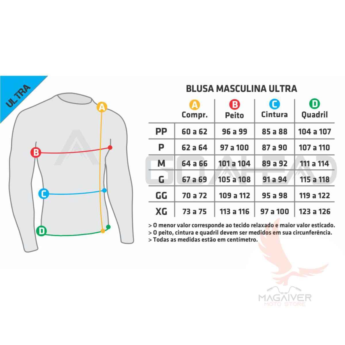 BLUSA GO AHEAD MASCULINO SEGUNDA PELE C/ ZÍPER ULTRA ( FRIO - INVERNO )