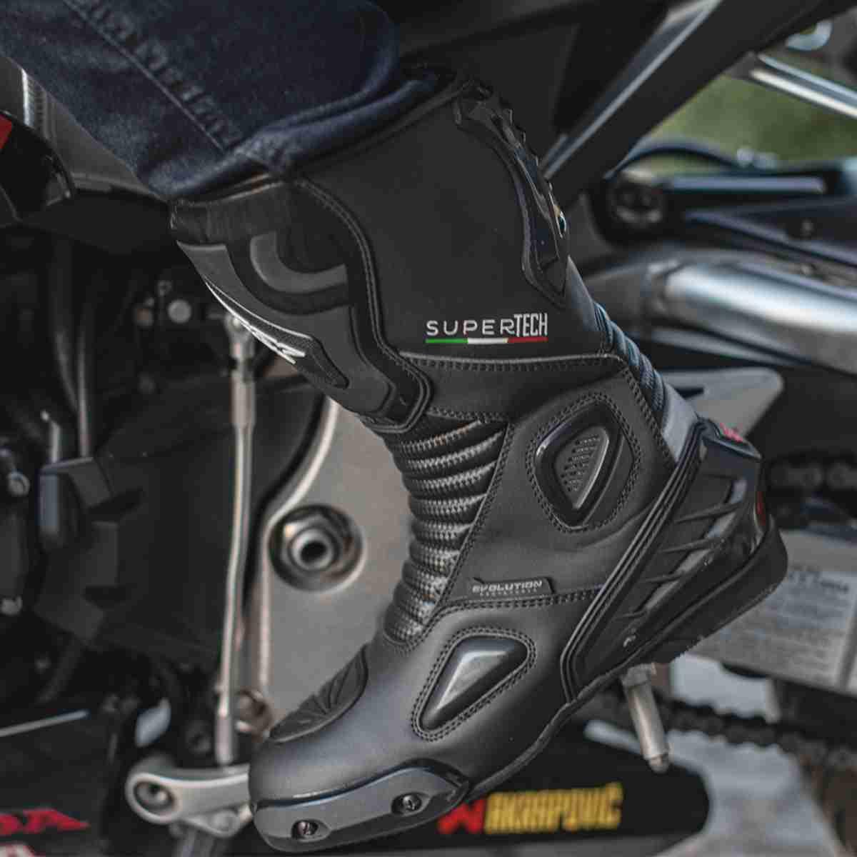 BOTA DE MOTOCICLISTA MOTOQUEIRO ESPORTIVA TEXX SUPER TECH V2 PRETA