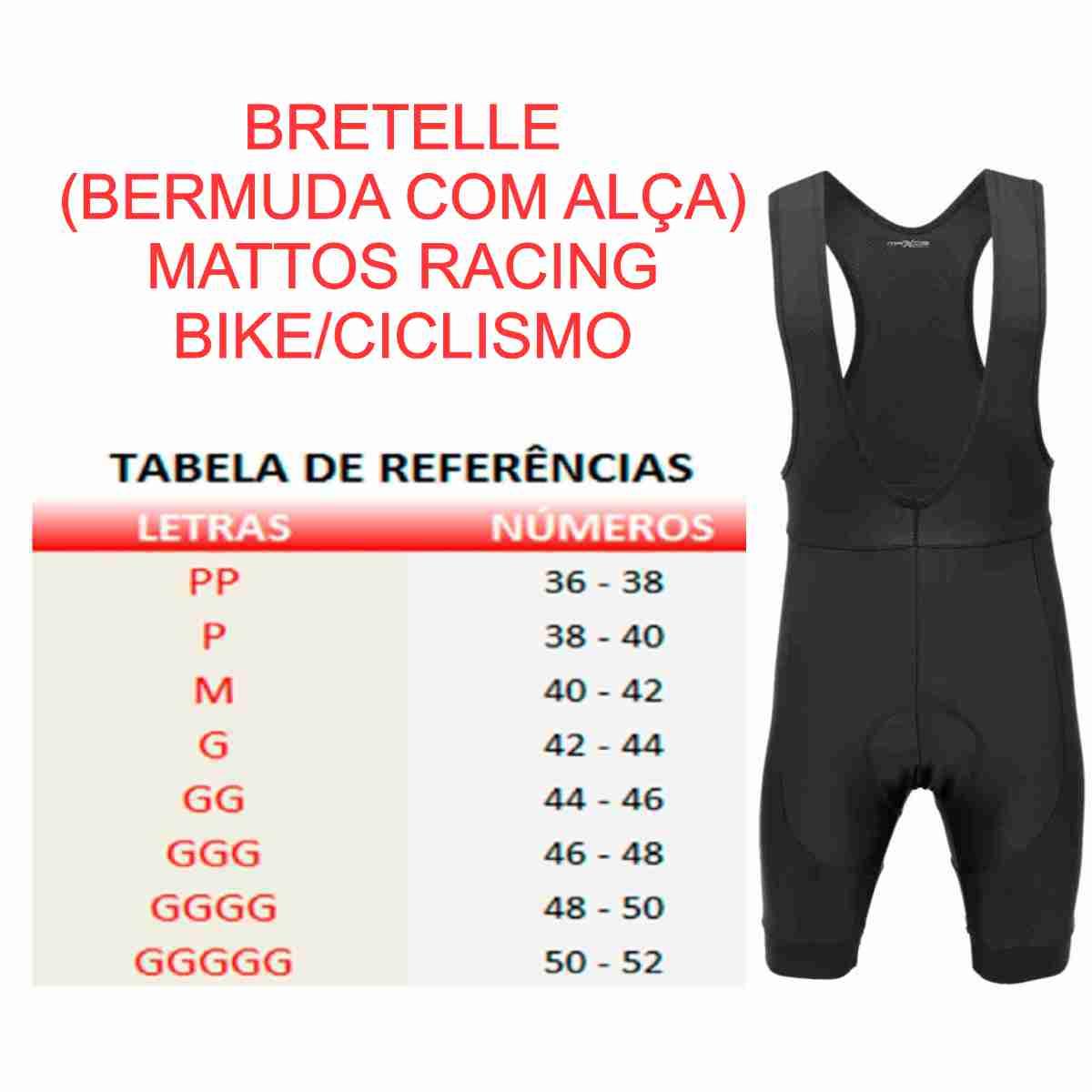 BRETELLE (BERMUDA COM ALÇA) MATTOS RACING BIKE CICLISMO PRETO