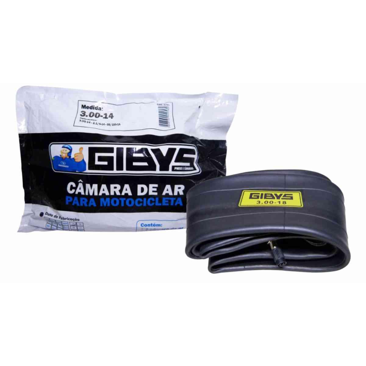 CÂMARA DE AR GIBYS PNEU TRASEIRO MOTO BIZ 100 / BIZ 125 / POP 100 2.1/4-14 / 80/100-14 REF. 3.00-14