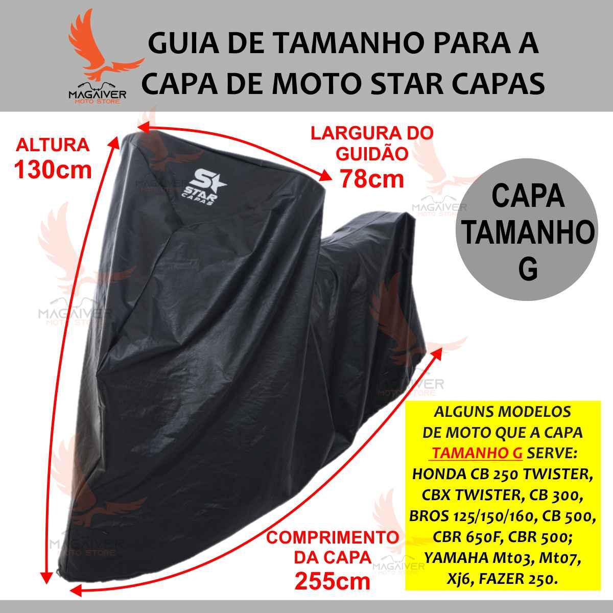 CAPA TÉRMICA PROTETORA DE COBRIR MOTO STAR CAPAS IMPERMEÁVEL G BROS CB 300 500 650F TWISTER FAZER MT