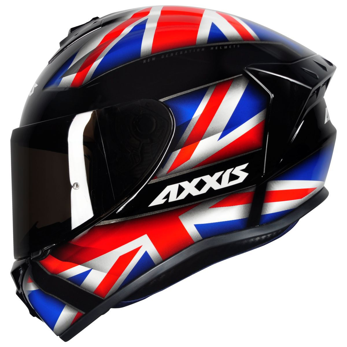 CAPACETE AXXIS DRAKEN UK GLOSS BLACK RED BLUE