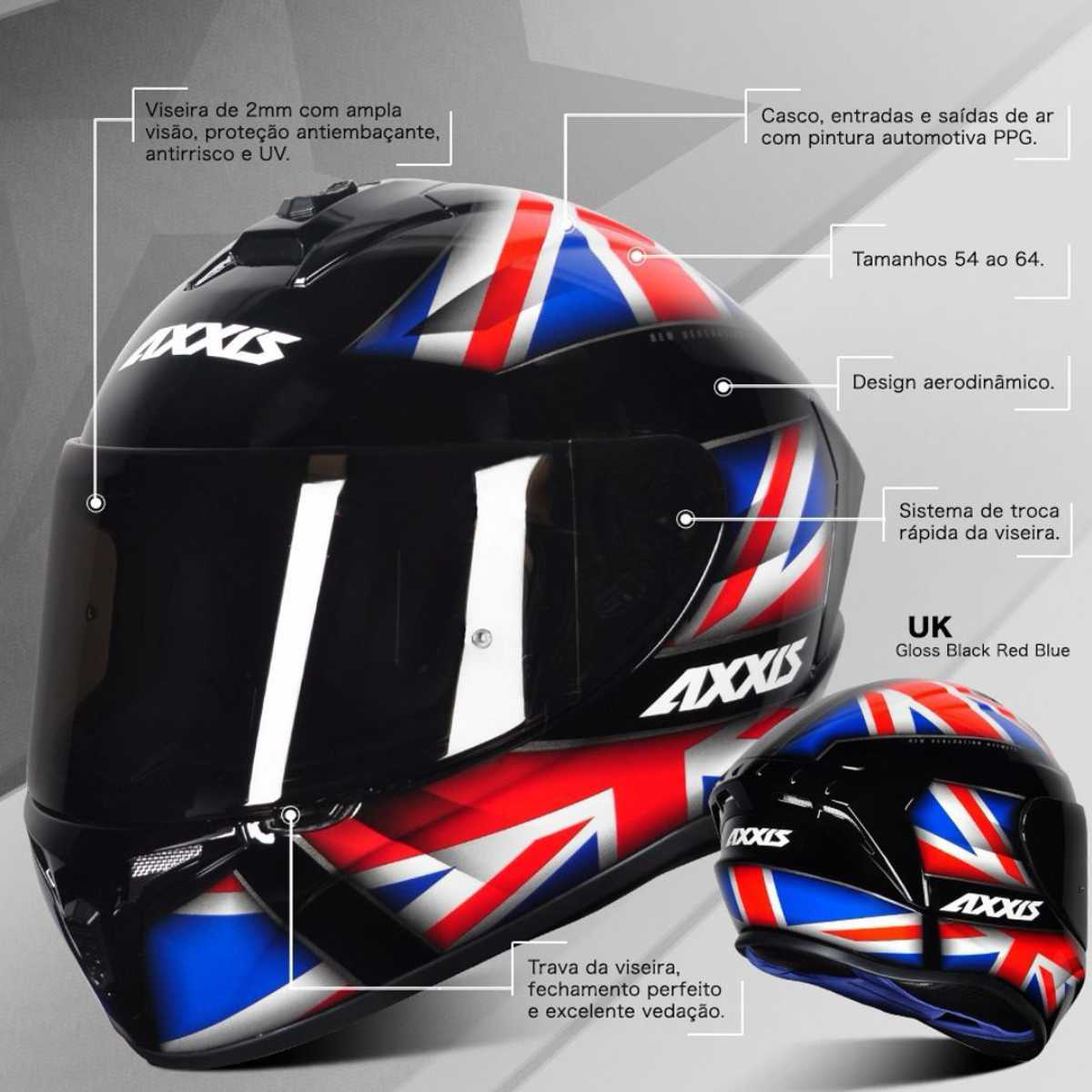 CAPACETE AXXIS DRAKEN UK GLOSS BLACK RED BLUE + VISEIRA AZUL EXTRA