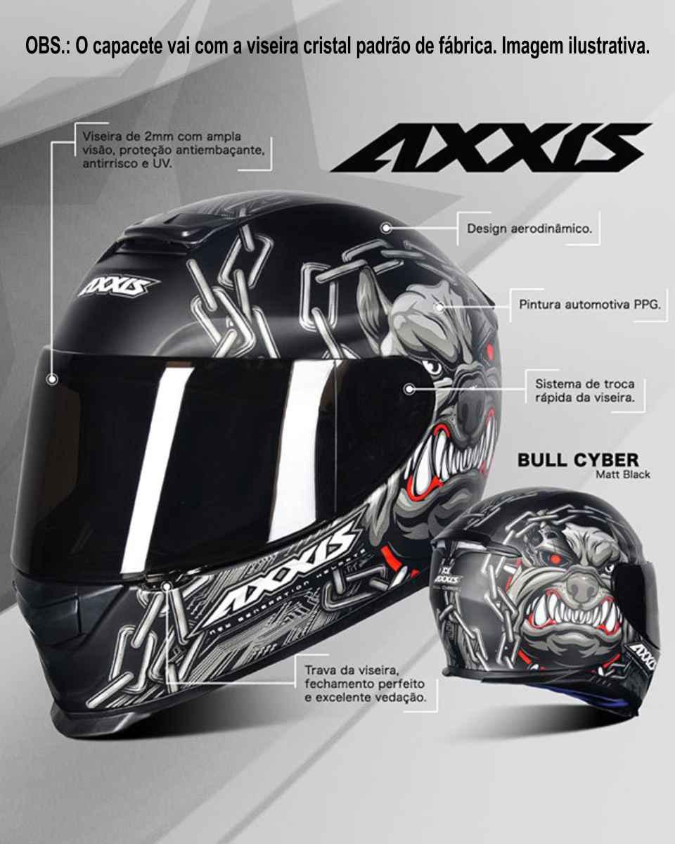 CAPACETE AXXIS EAGLE BULL CYBER MATT BLACK/GREY