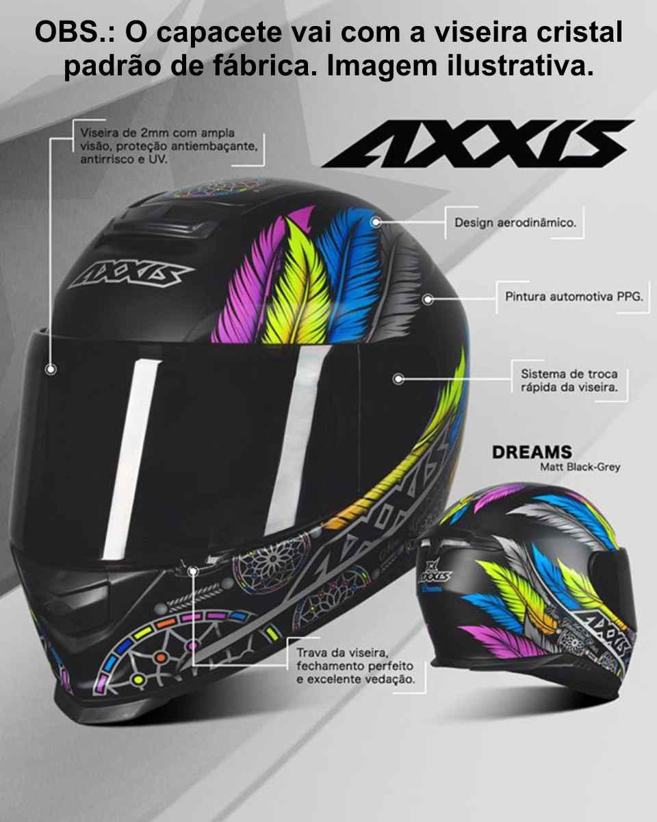 CAPACETE AXXIS EAGLE DREAMS MATT BLACK/GREY