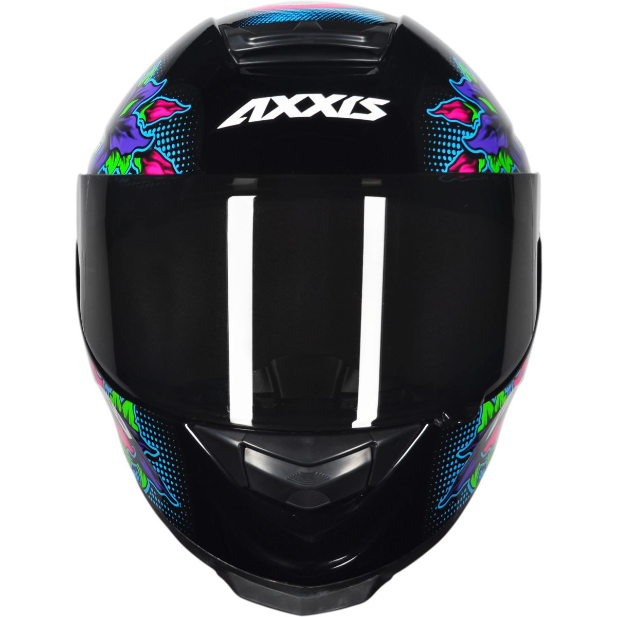 CAPACETE AXXIS EAGLE SKULL GLOSS BLACK/BLUE + VISEIRA CAMALEÃO EXTRA