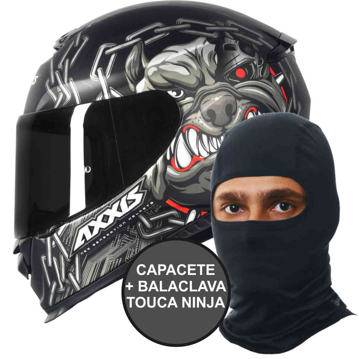 CAPACETE DE MOTO AXXIS EAGLE BULL CYBER MATT BLACK/GREY + BALACLAVA TOUCA NINJA