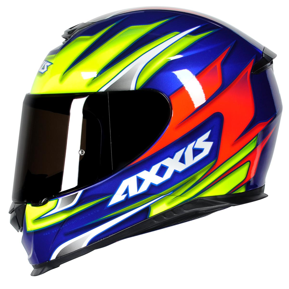 CAPACETE DE MOTOCICLISTA AXXIS EAGLE SPEED GLOSS BLUE YELLOW