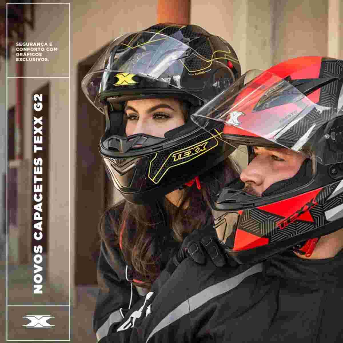 CAPACETE DE MOTOQUEIRO TEXX G2 TRENTO COM ÓCULOS SOLAR INTERNO
