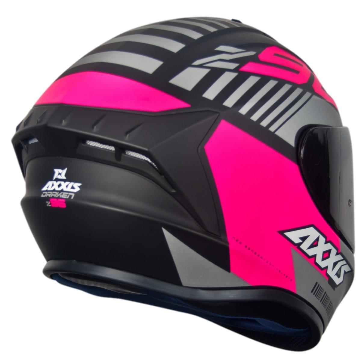 CAPACETE FEMININO MOTO AXXIS DRAKEN Z96 MATT BLACK/PINK/GREY