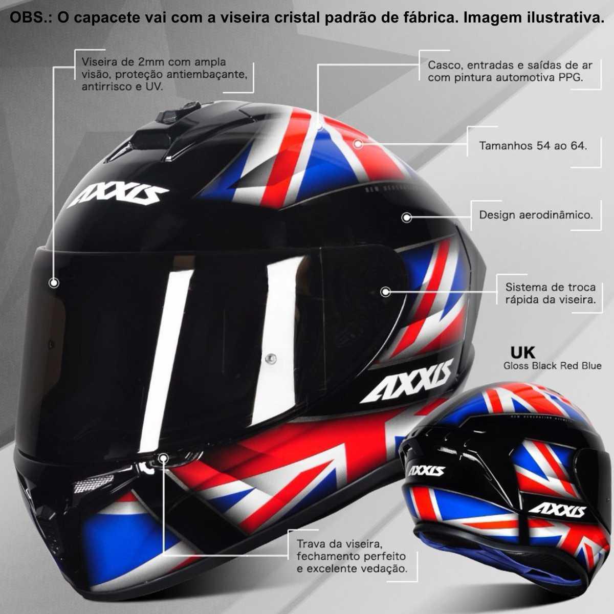 CAPACETE MASCULINO MOTO AXXIS DRAKEN UK INGLATERRA PRETO VERMELHO AZUL BRILHANTE
