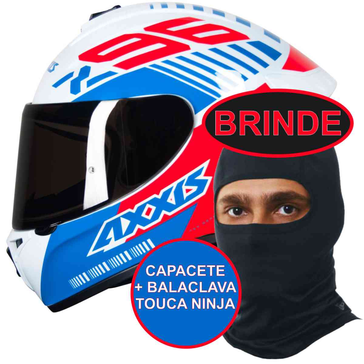 CAPACETE MOTO AXXIS DRAKEN Z96 BRANCO VERMELHO E AZUL BRILHANTE Nº 64 + BALACLAVA TOUCA NINJA