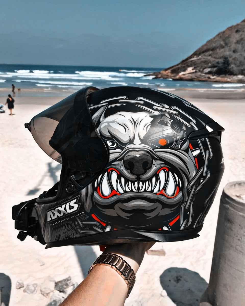 CAPACETE MOTO AXXIS EAGLE BULL CYBER MATT BLACK/GREY