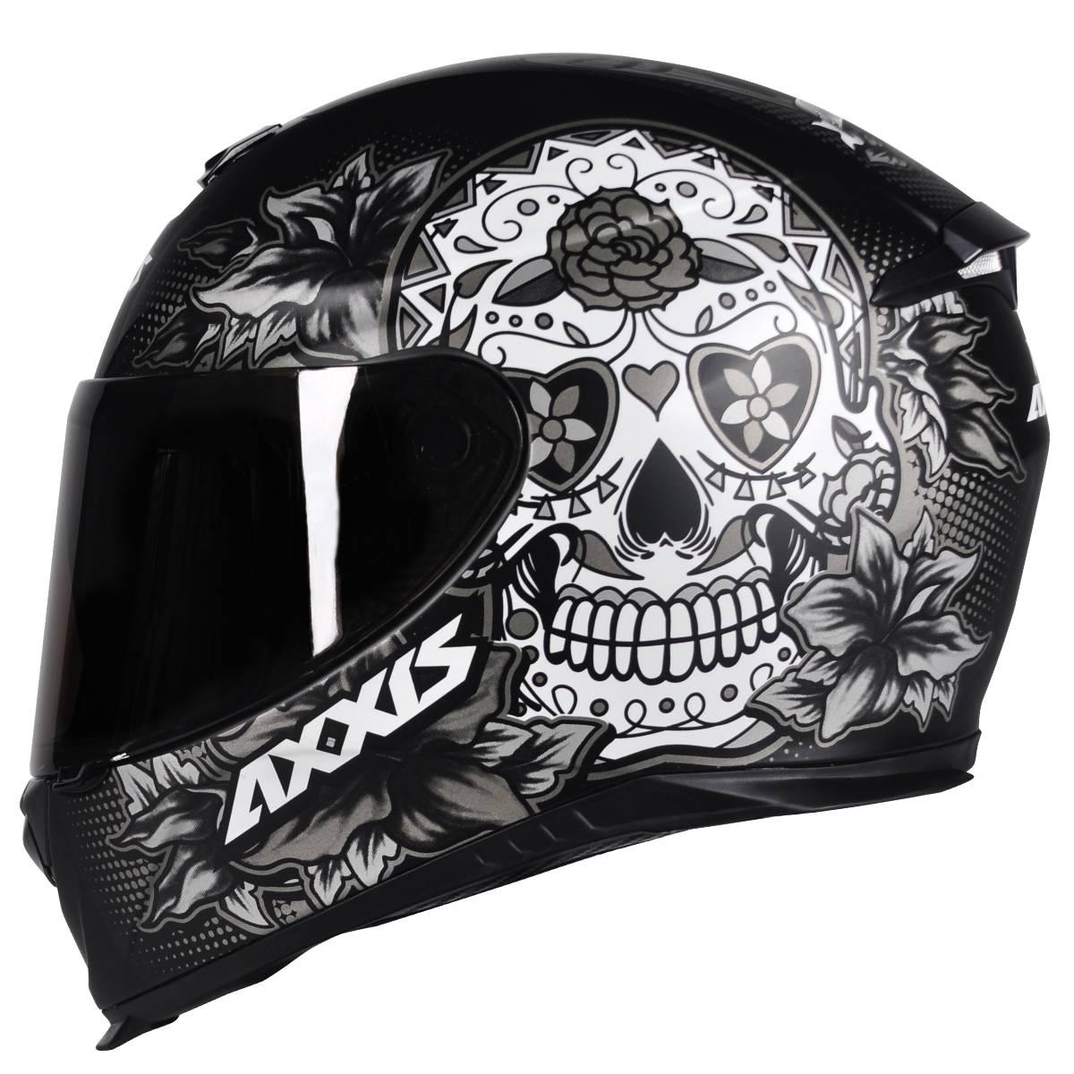 CAPACETE MOTO AXXIS EAGLE SKULL CAVEIRA MEXICANA MATT BLACK/GREY