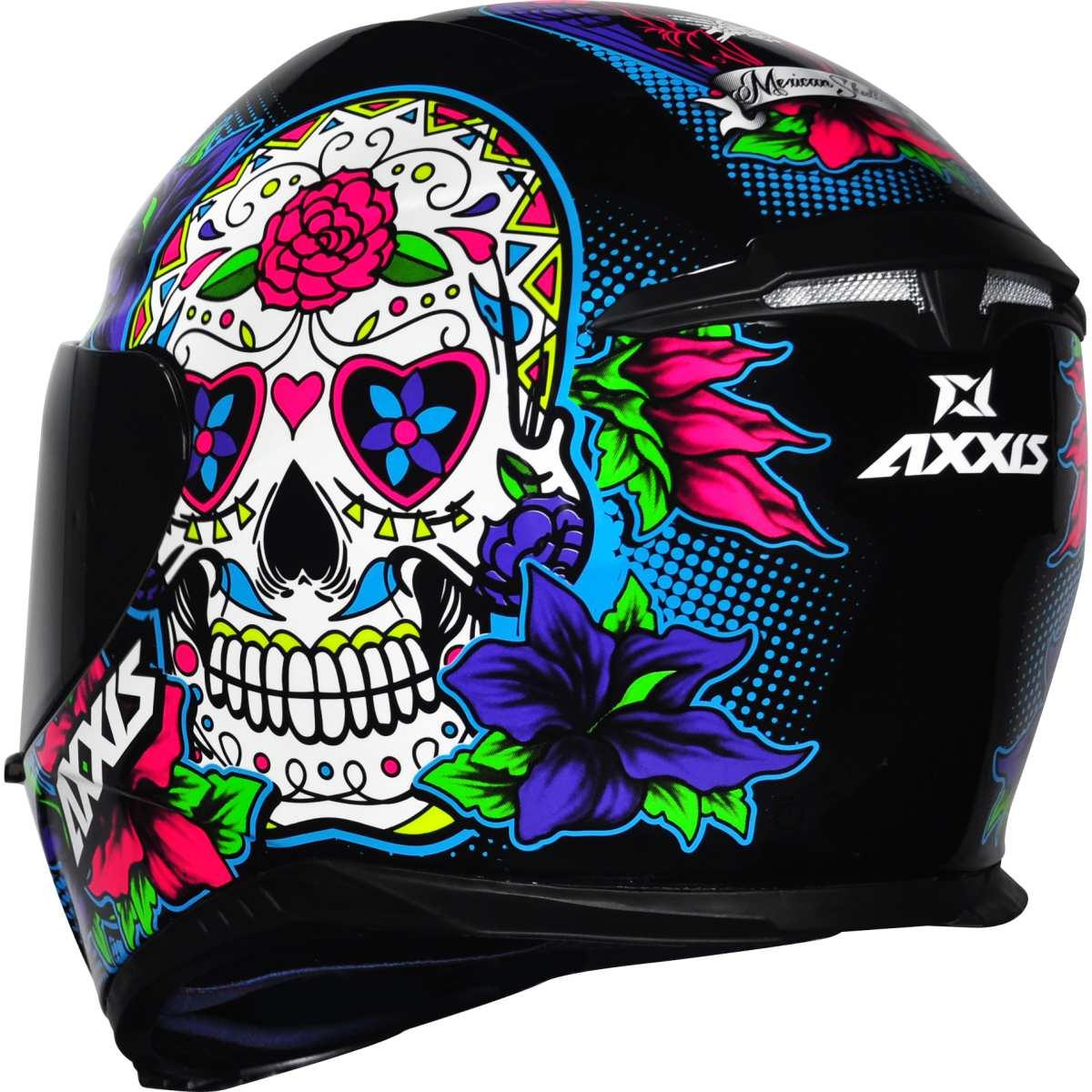 CAPACETE MOTO AXXIS EAGLE SKULL CAVEIRA MEXICANA PRETO AZUL BRILHANTE Nº 60 + BALACLAVA TOUCA NINJA