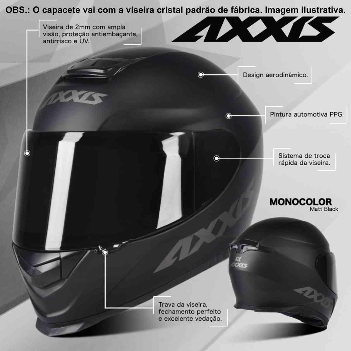 CAPACETE MOTO AXXIS EAGLE SOLID/MONOCOLOR PRETO FOSCO/CINZA