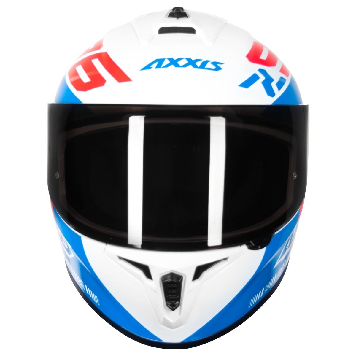 CAPACETE MOTOCICLISTA AXXIS DRAKEN Z96 BRANCO VERMELHO AZUL BRILHANTE
