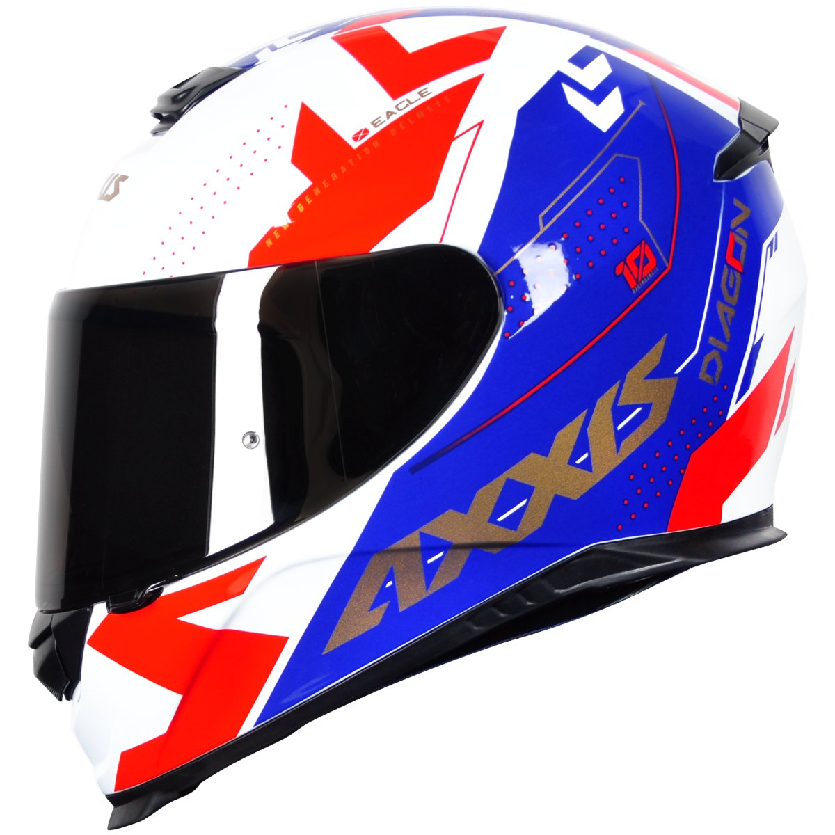 CAPACETE MOTOCICLISTA AXXIS EAGLE DIAGON GLOSS WHITE/BLUE/RED