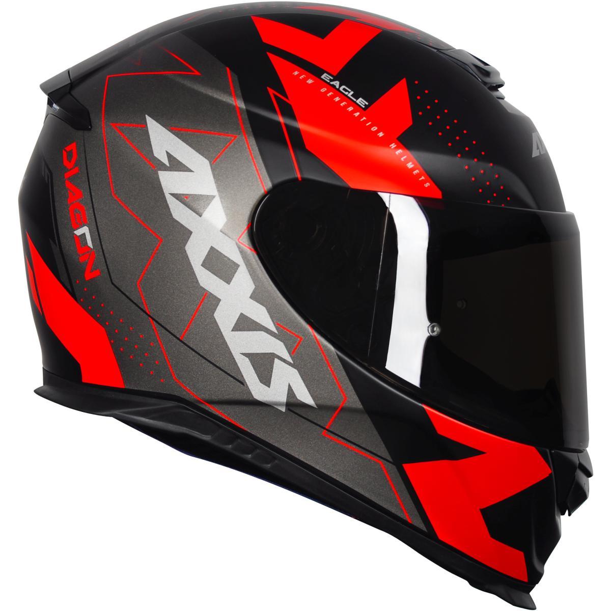 CAPACETE MOTOCICLISTA AXXIS EAGLE DIAGON MATT BLACK/GREY/RED