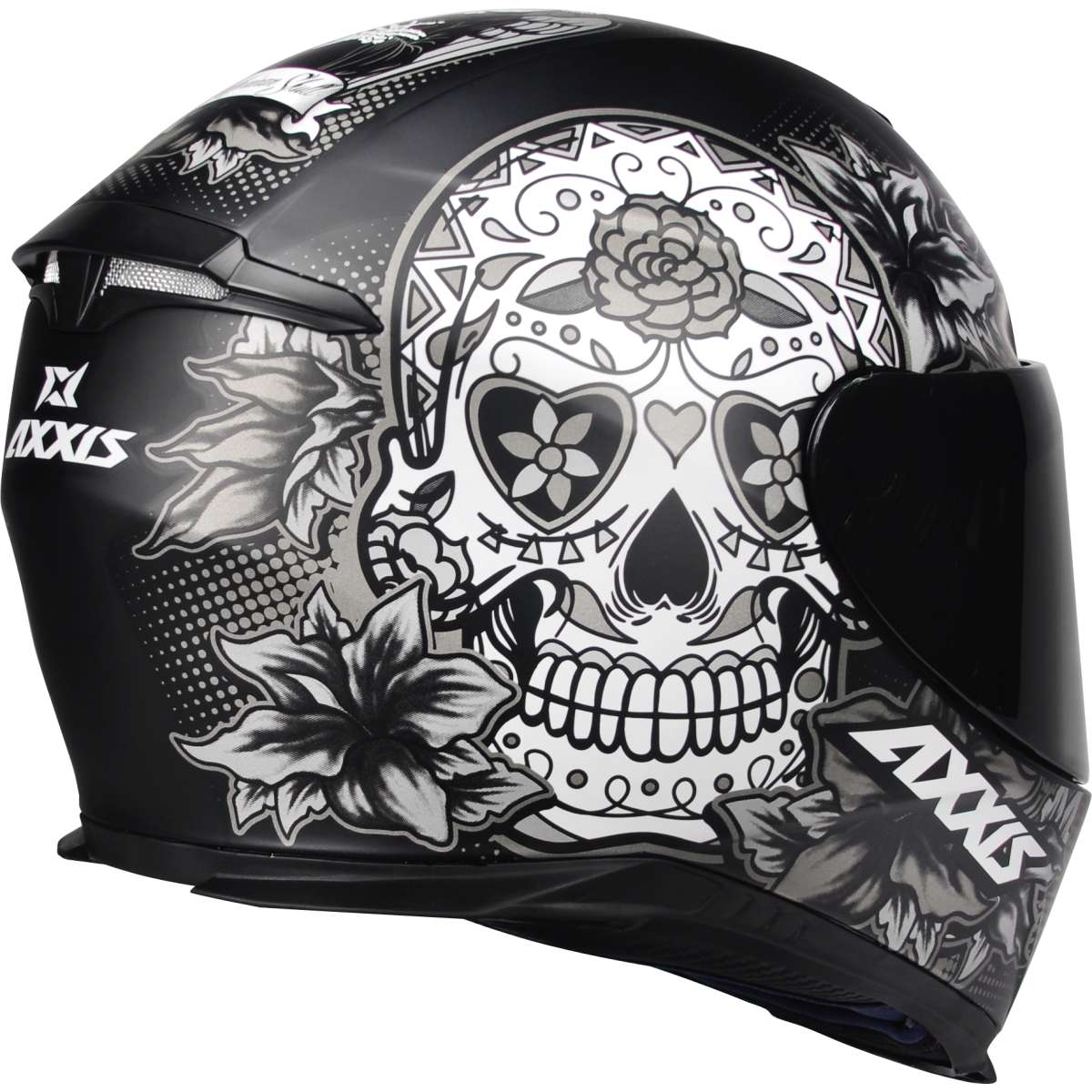CAPACETE MOTOCICLISTA AXXIS EAGLE SKULL CAVEIRA MEXICANA PRETO FOSCO/CINZA