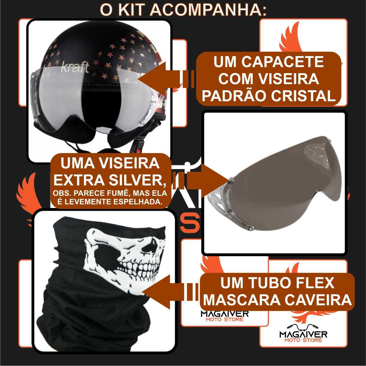 COMBO CAPACETE ABERTO CUSTOM BANDEIRA USA + VISEIRA EXTRA SILVER + MASCARA CAVEIRA TUBO FLEX BANDANA