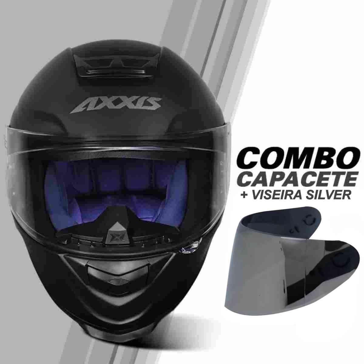 COMBO CAPACETE AXXIS EAGLE SOLID/MONOCOLOR PRETO FOSCO/CINZA + VISEIRA SILVER EXTRA