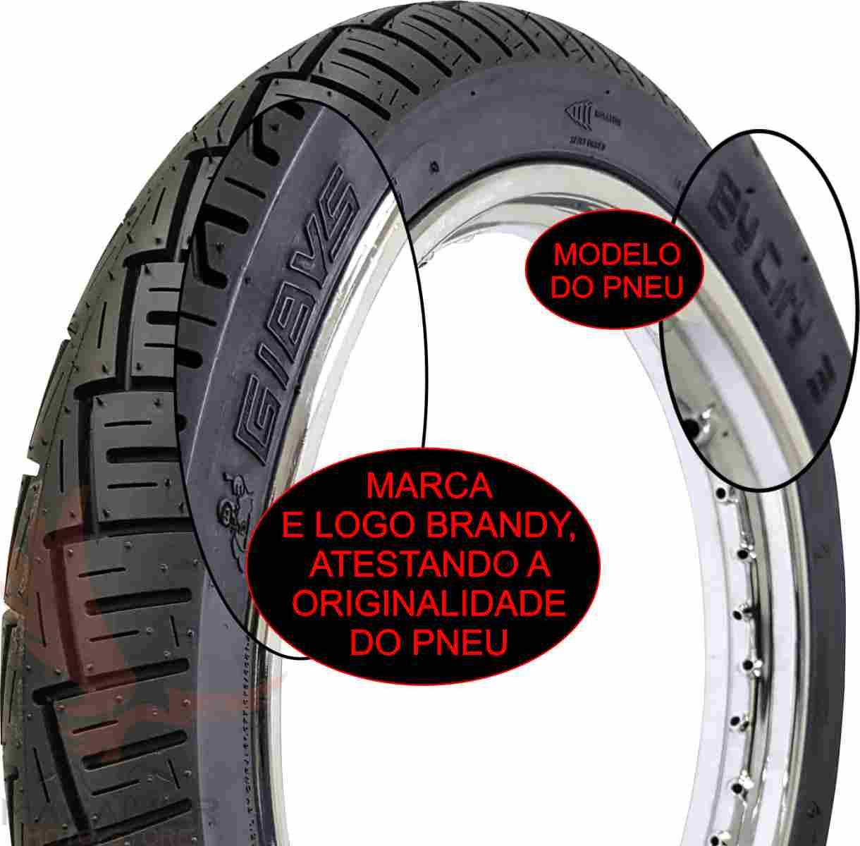 COMBO PNEU TRASEIRO GIBYS 80/100-14 49L + CÂMARA DE AR RODA ARO 14 MOTO BIZ C100 110 125 POP 100