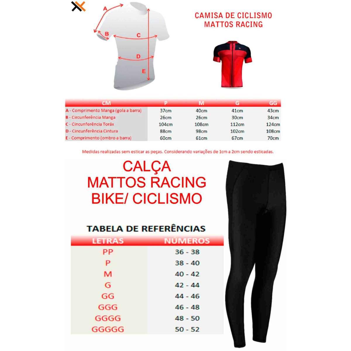 CONJUNTO CICLISMO CAMISA MATTOS RACING BIKE LISA MTB VERMELHO + CALÇA PRETO FORRO GEL MOUNTAIN BIKE